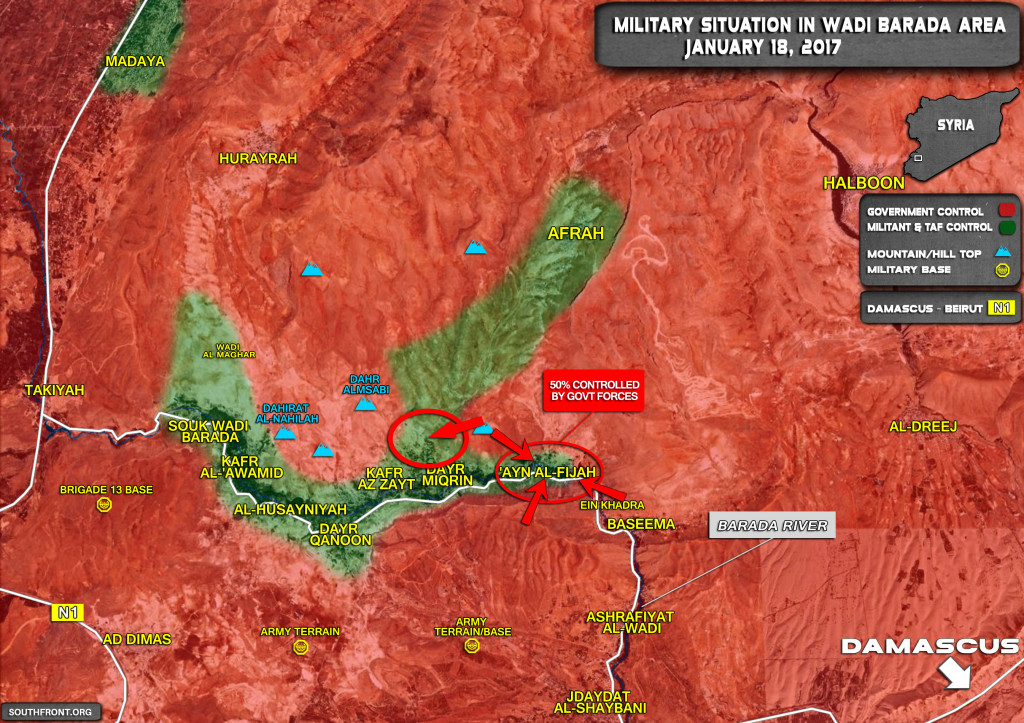 Syrian Army Further Tightens Seize On Wadi Barada Villages, Capturing Crossings Between Afrah And Dayr Miqrin