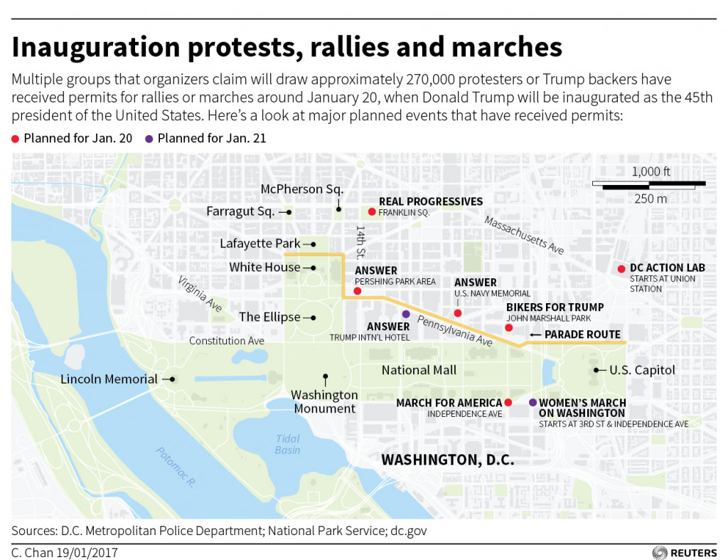Trump's Inauguration Protests, Rallies and Marches (Map)