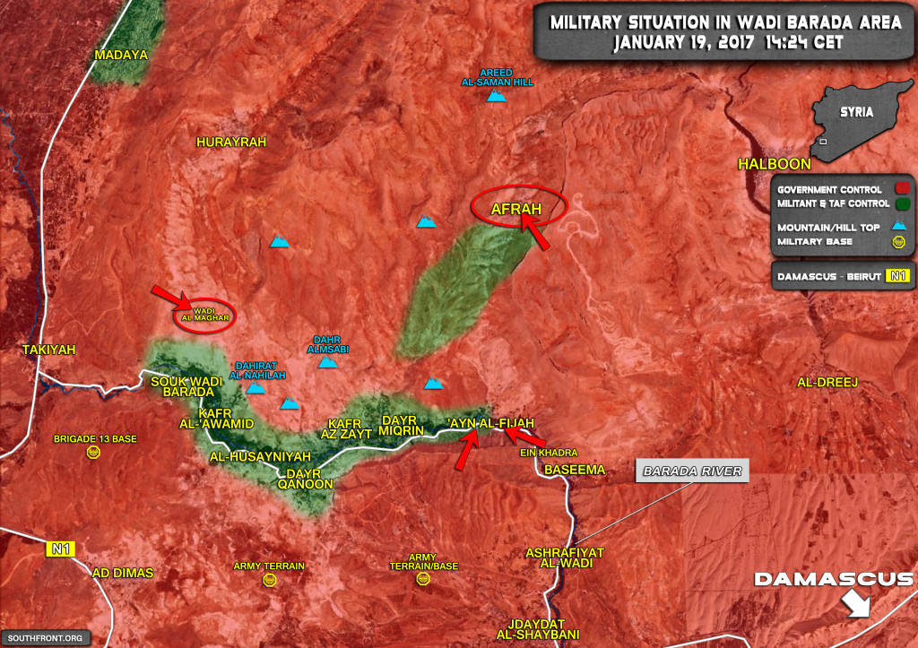 Syrian Army Makes Huge Gains In Wadi Barada As Militant Defenses Collapses