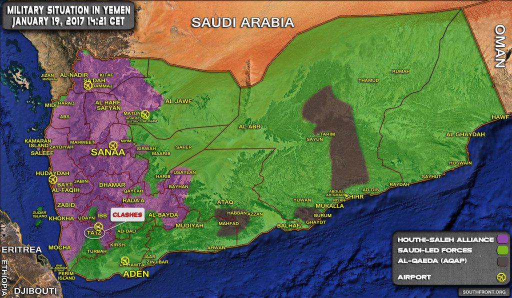 Military Situation In Yemen On January 19, 2017 (Map Update)