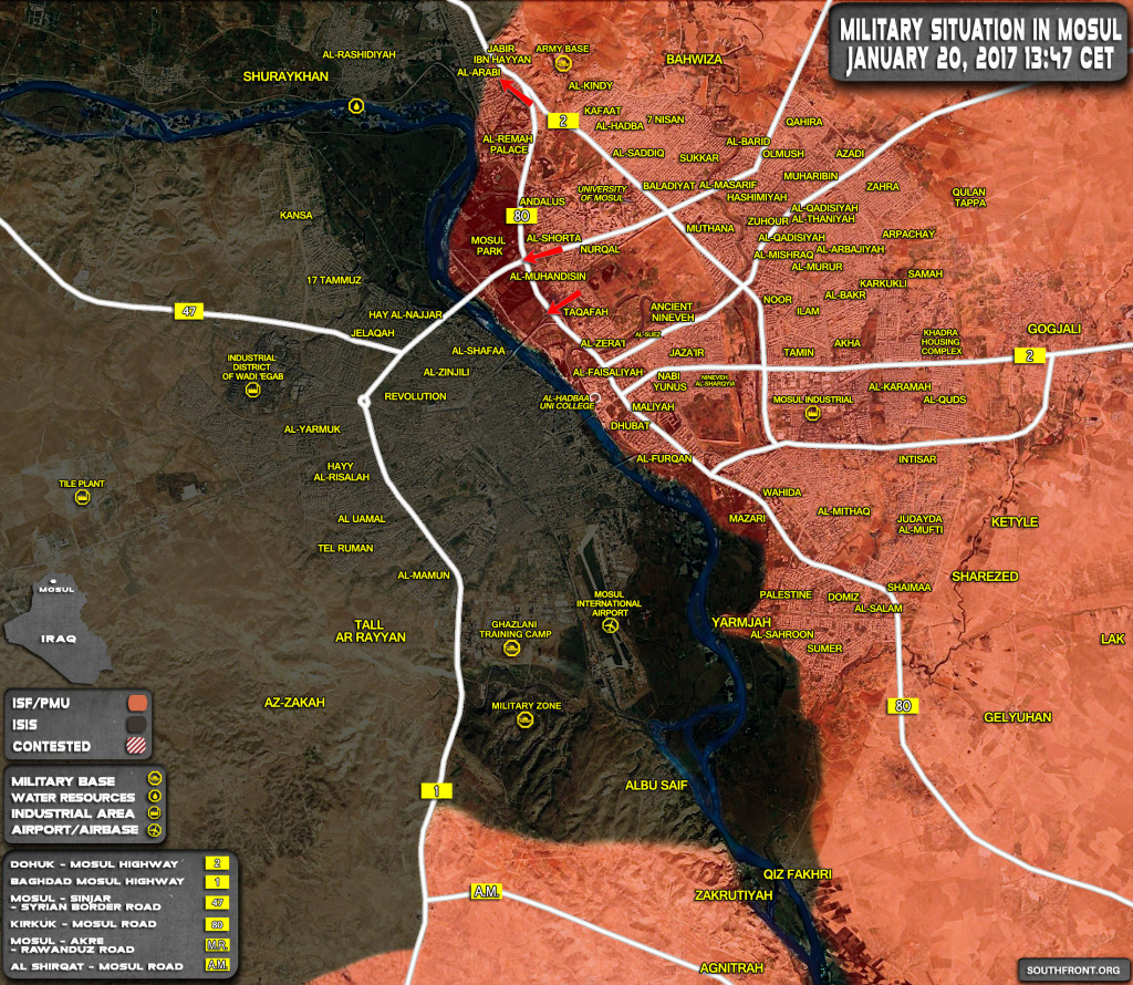 Military Situation In Mosul City On January 20, 2017 (Map Update)