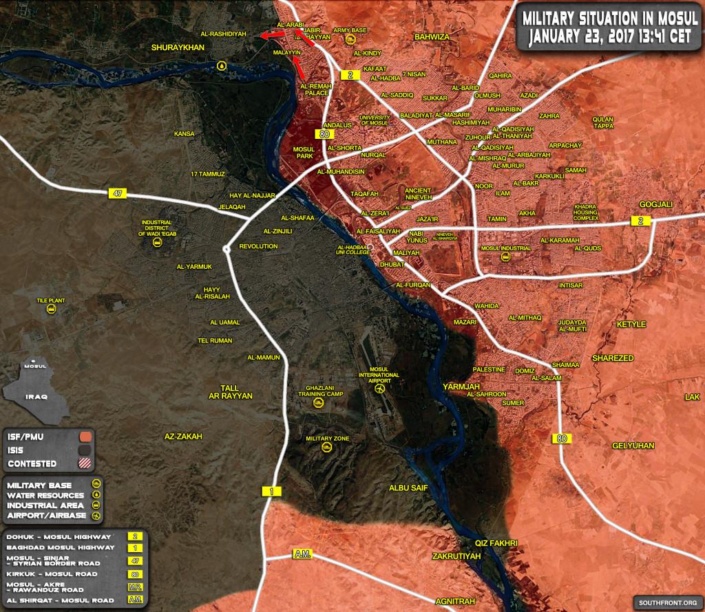 Military Situation In Mosul City On January 23, 2017 (Iraqi Map Update)