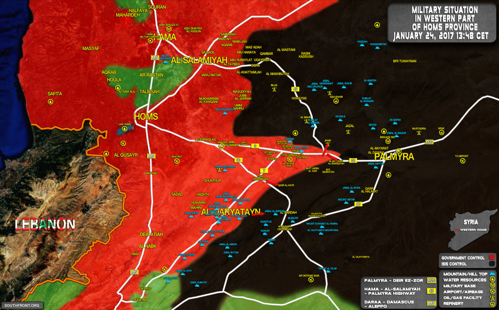 Syrian Army Continues Offensive Against ISIS Along Palmyra-Homs Road