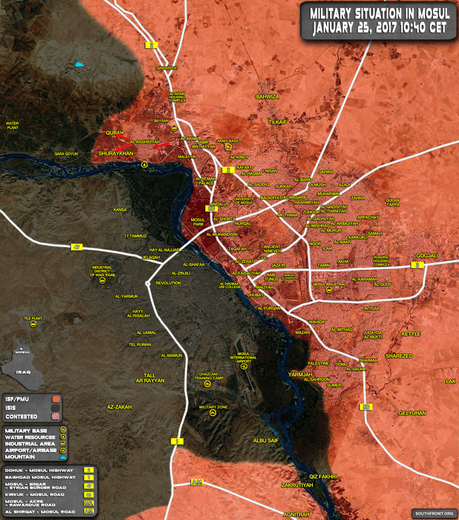 Military Situation In Mosul City And Its Countryside On January 25, 2017