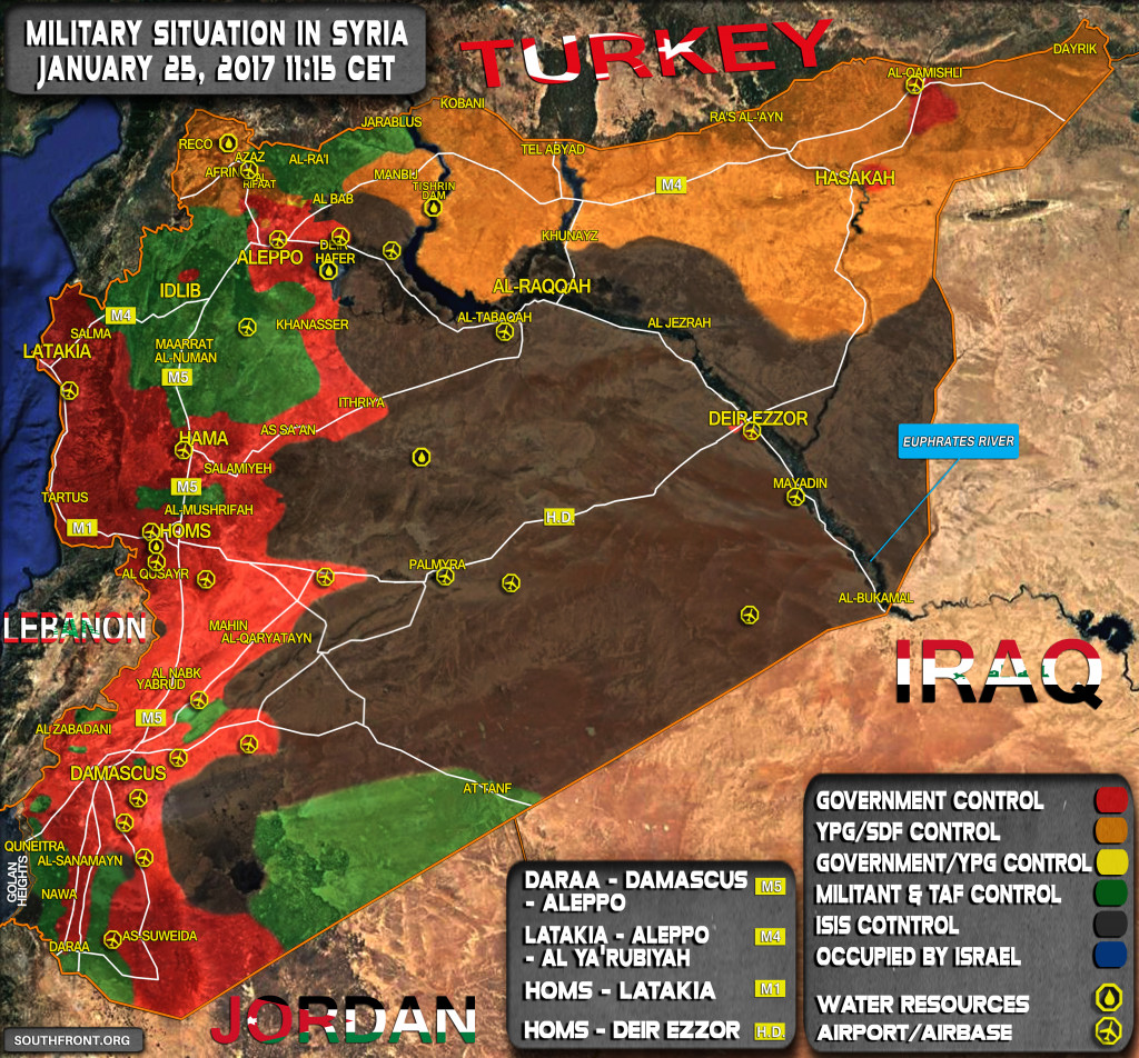 Military Situation In Syria On January 25, 2017 (Map Update)