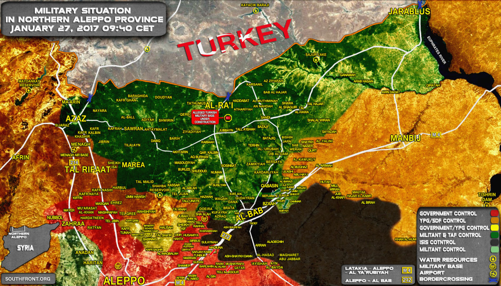 Military Situatiion In Northern Part Of Aleppo Province On January 27, 2017 (Map Update)