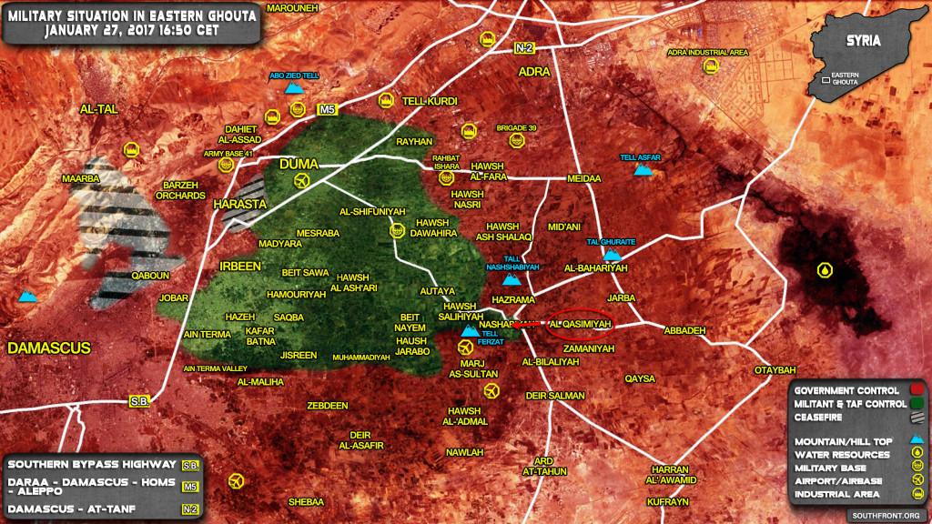 Syrian Army Repels Jaish al-Islam Attack On al-Qasimiyah In Eastern Ghouta