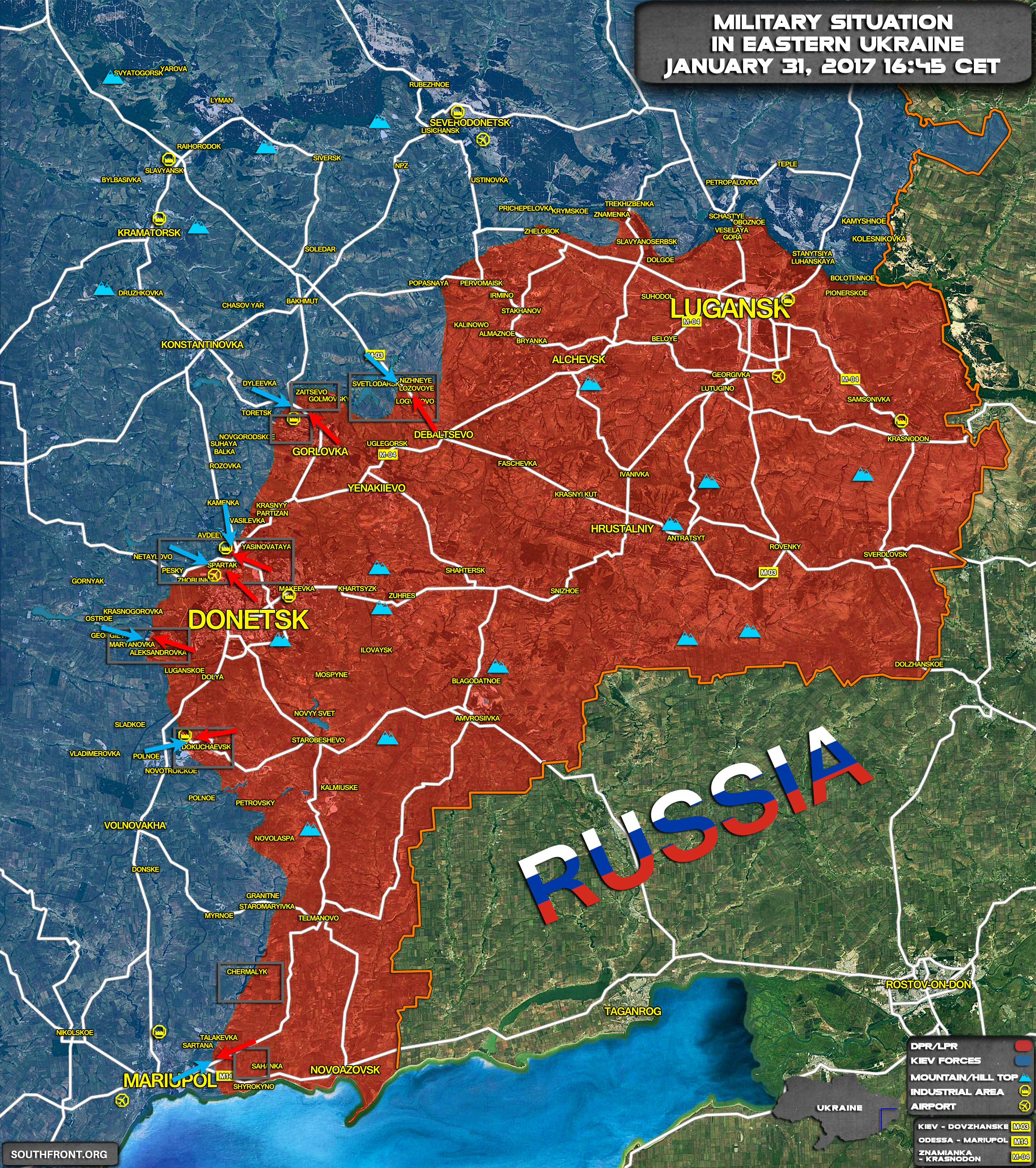 review of recent military escalation in eastern ukraine map