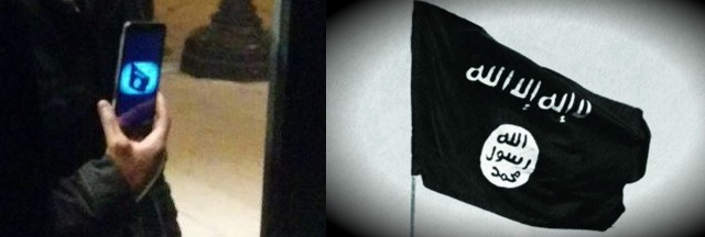 Anti-Trump Protester Displays ISIS Flag & Beheading Video to Intimidate Trump Supporters (Photo)