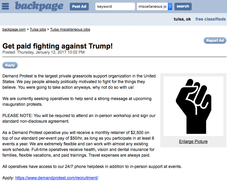 'Grassroots' Organization Offers $2.5K to Protest Donald Trump's Inauguration