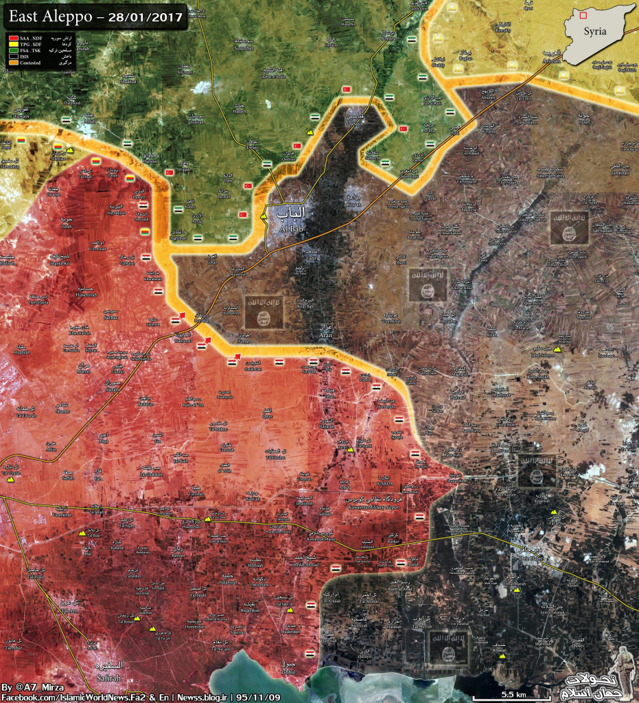 Military Situation In The Area Of Al-Bab After Liberation Of Sheikh Dan And Mushayrifa By Syrian Army