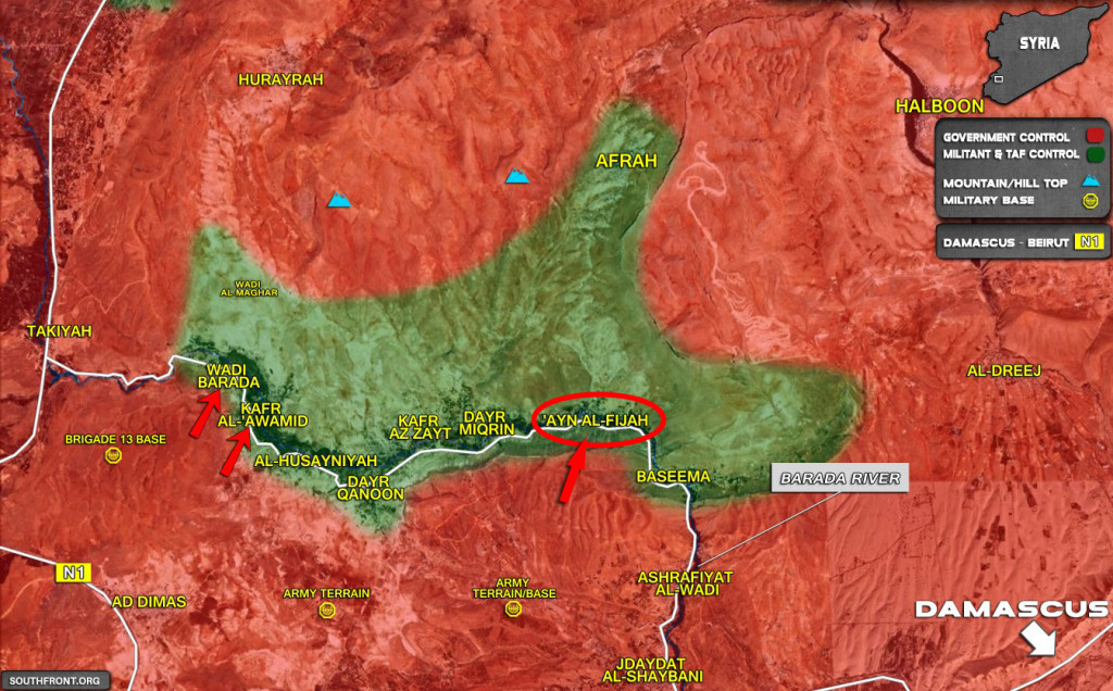 Syrian Army Continues Anti-Terrorist Operation Northwest Of Damascus, Liberates Ayn Al-Fijah Village - Reports