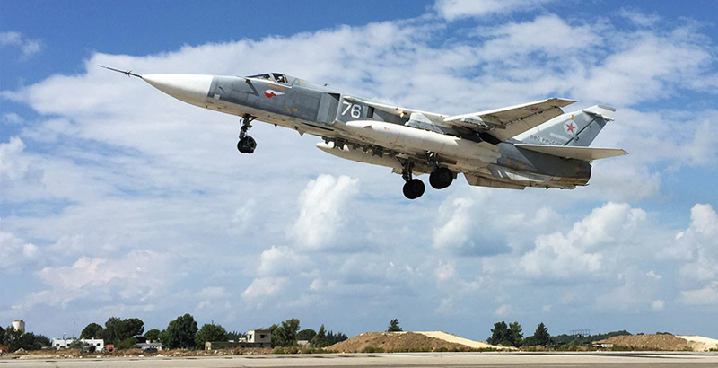 Russian Su-24s Tactical Bombers Leaving Syria