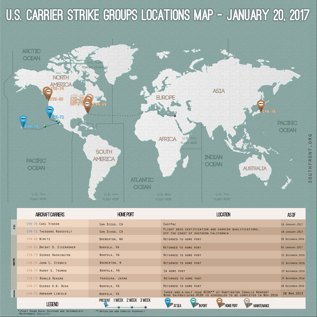 US Carrier Strike Groups Locations Map – January 20, 2017