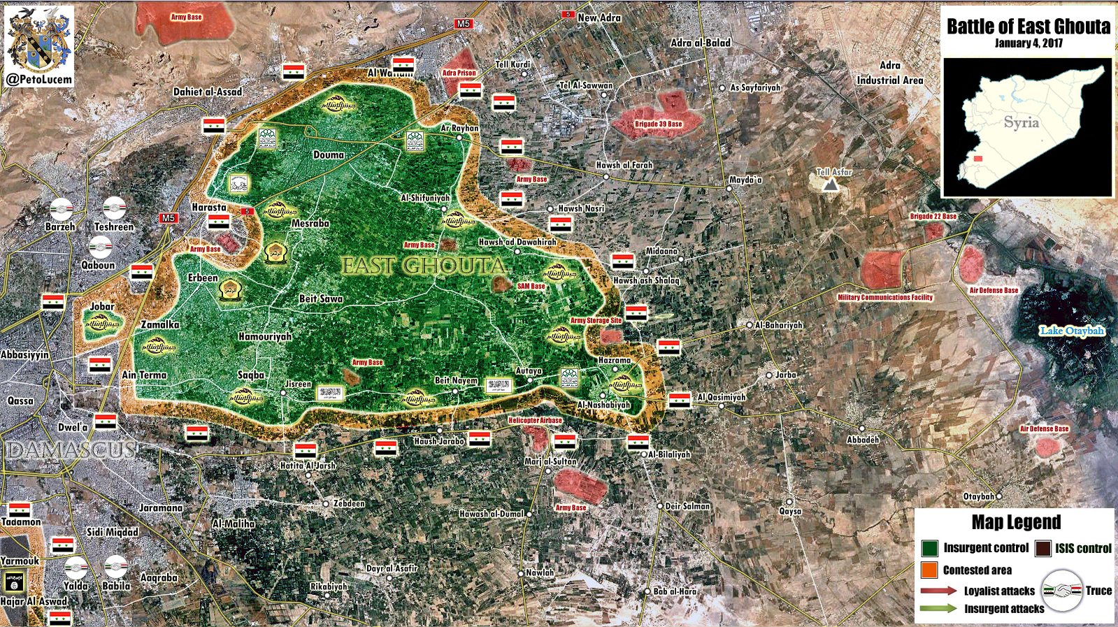 Military Situation In Eastern Ghouta Region Near Damascus (Syria Map ...