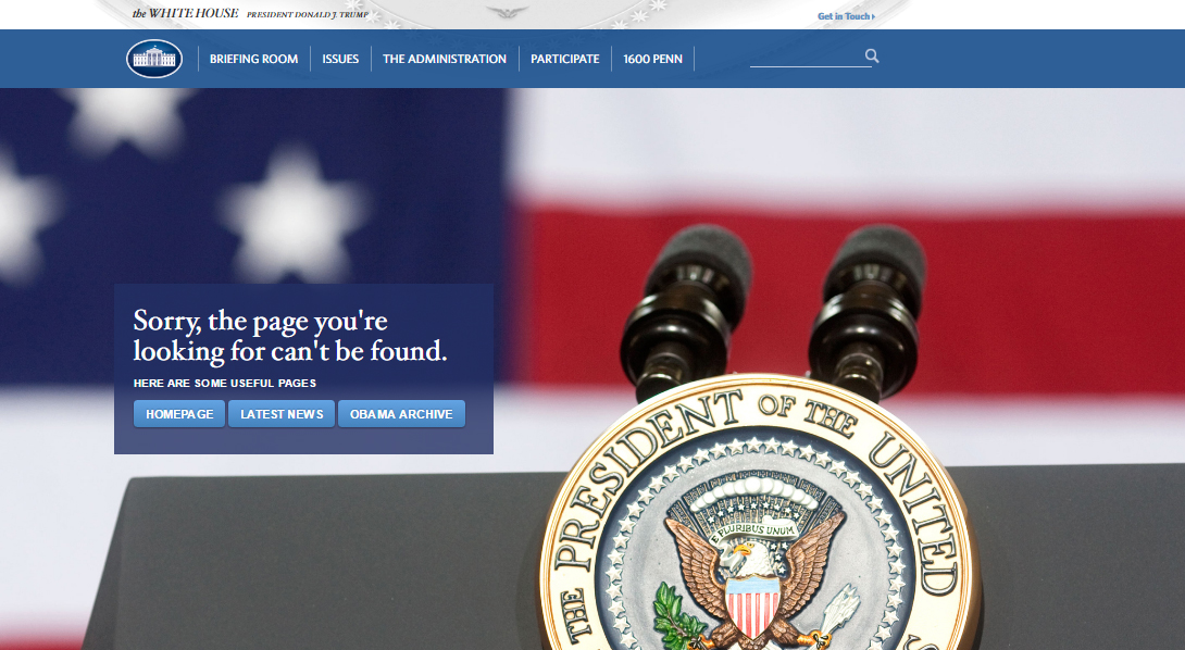 LGBT Rights & Climate Changes' Pages Disappear from Official White House Website