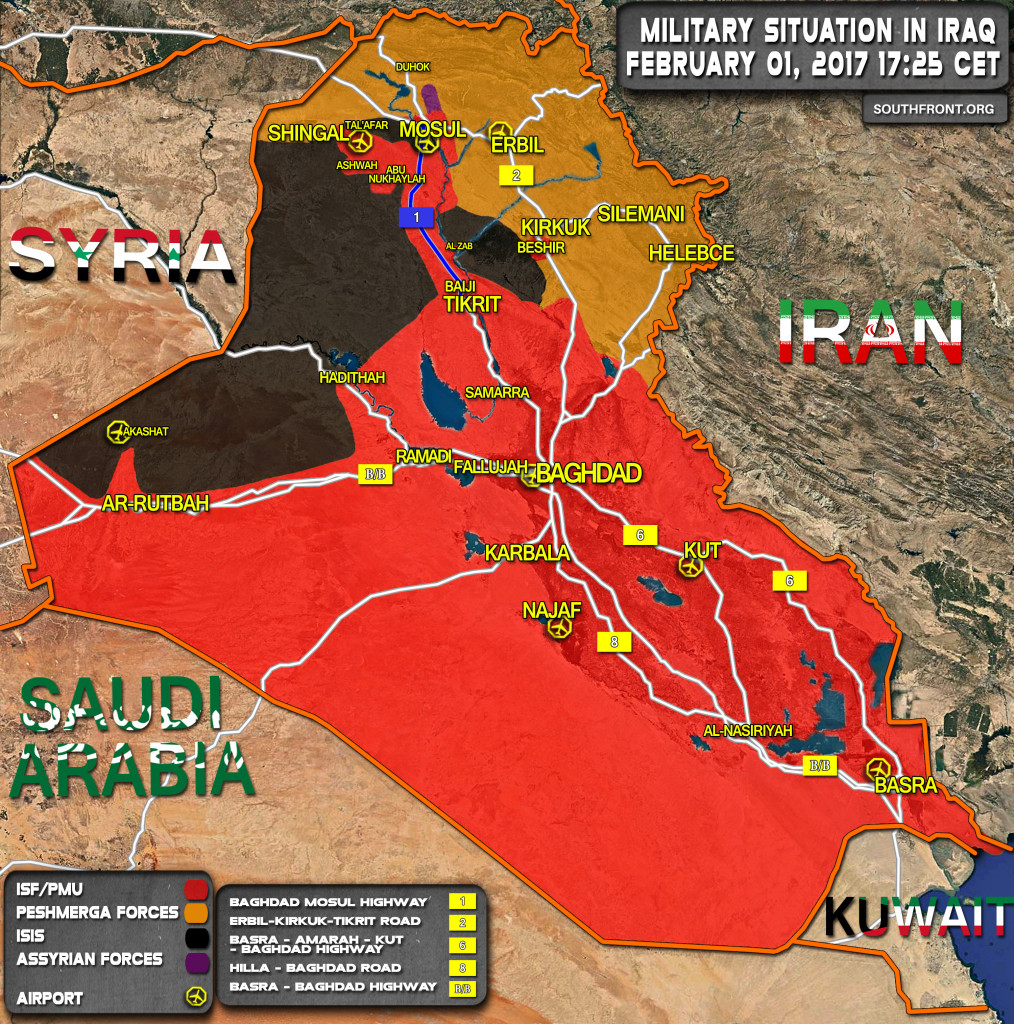 Military Situation In Iraq On February 1, 2017 (Map Update)