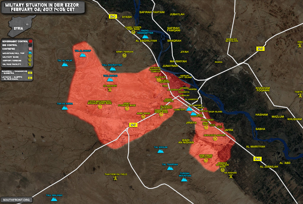 Military Situation In Deir Ezzor On February 2, 2017 (Map Update)