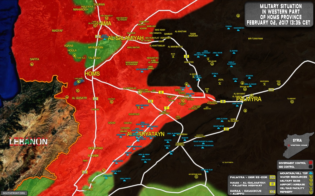 Military Situation West Of Palmyra After Recent Advances By Syrian Army (Map Update)