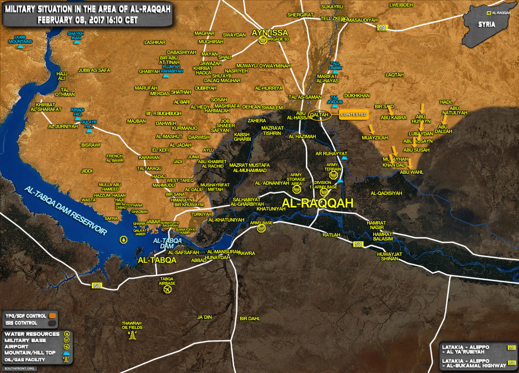 Military Situation In Area Of Al-Raqqah On February 8, 2017 (Syria Map Update)