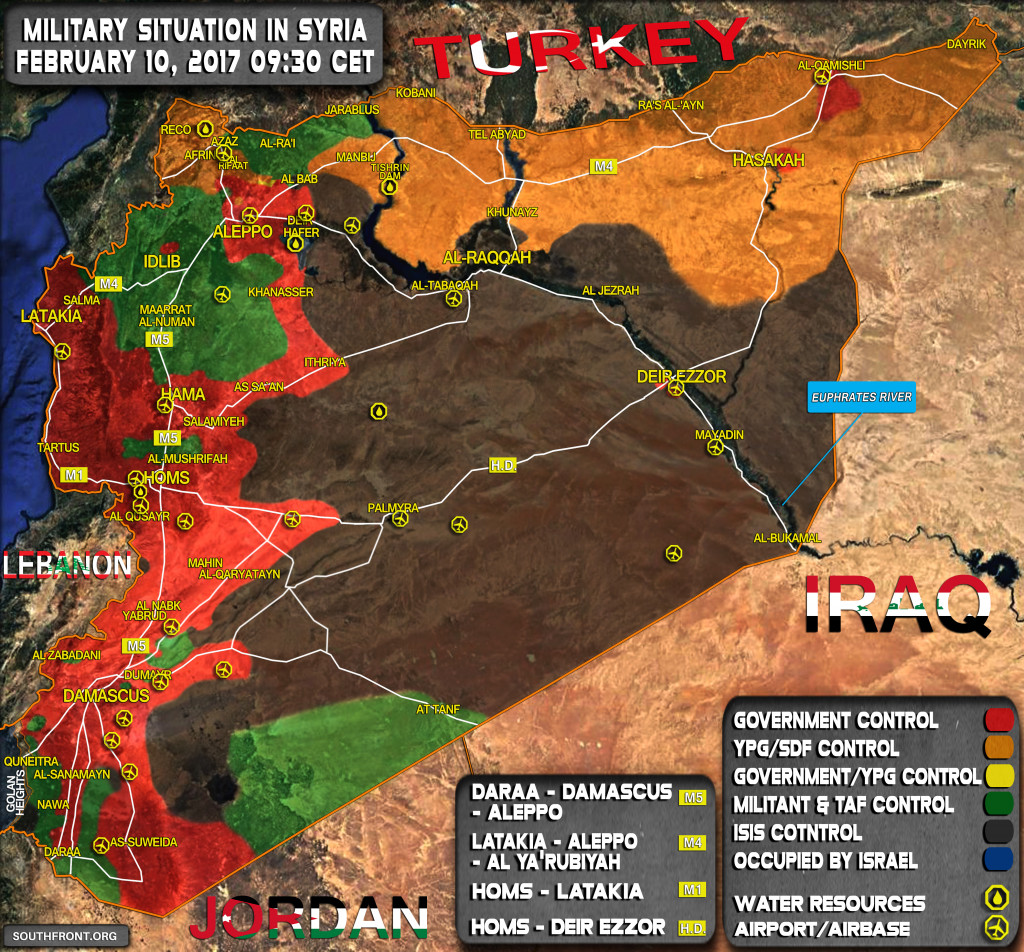 Military Situation In Syria On February 10, 2017 (Map Update)