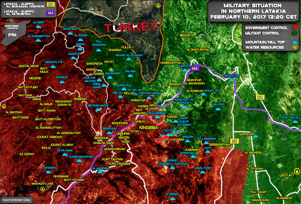 Military Situation In Northern Latakia On February 10, 2017