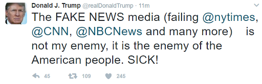Donald Trump Declares CNN, NYT, NBC & Others Are 'Enemy of American People'