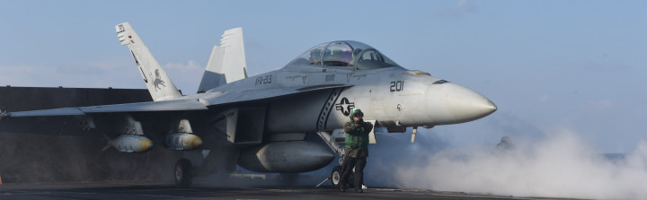 An F/A-18F Super Hornet attached to the Black Lions of Strike Fighter Squadron (VFA) 213 launches from the aircraft carrier USS George H.W. Bush (CVN 77) in support of Operation Inherent Resolve on Feb. 13, 2017. US Navy Photo