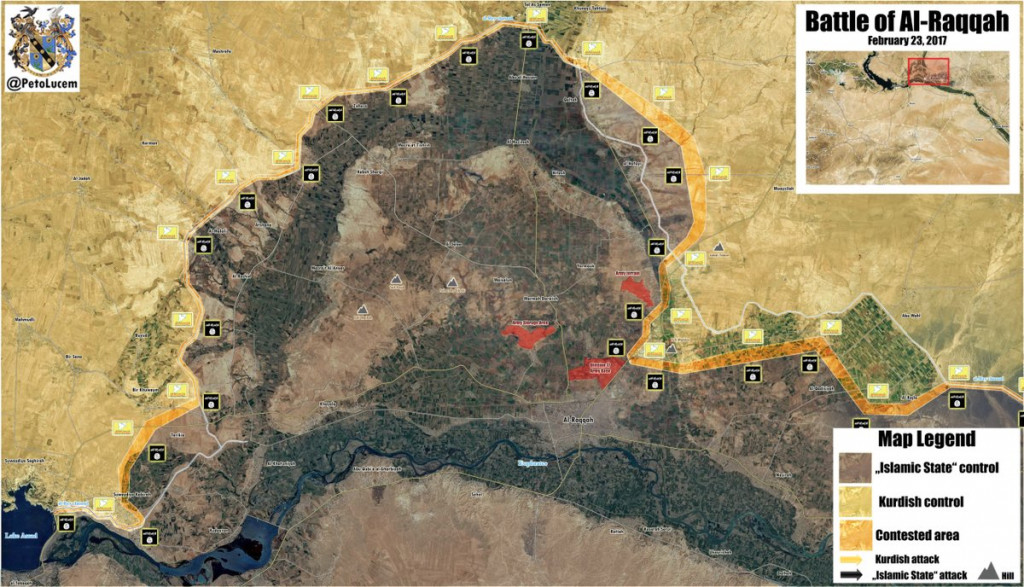 Military Situation In Area Of Raqqah After Recent Advances By US-Backed Forces (Map)
