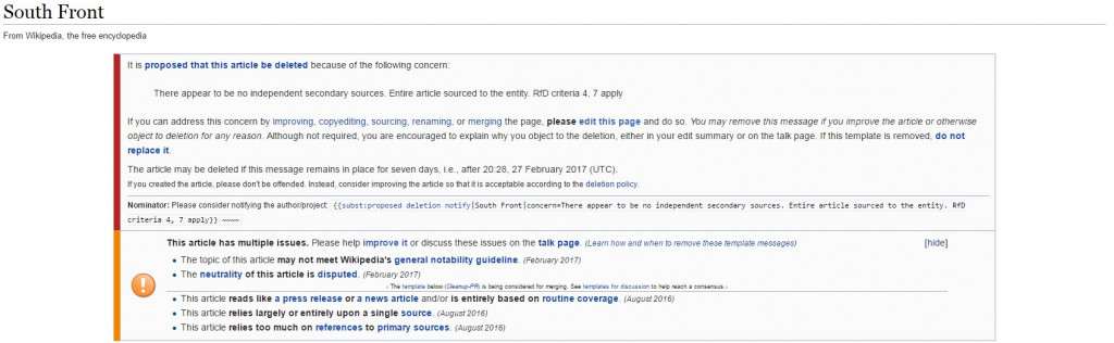 Open Letter Concerning Wikipedia Suppression of SouthFront Information
