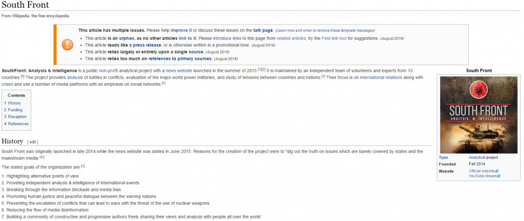 Attention: SouthFront Is Censored At Wikipedia.org