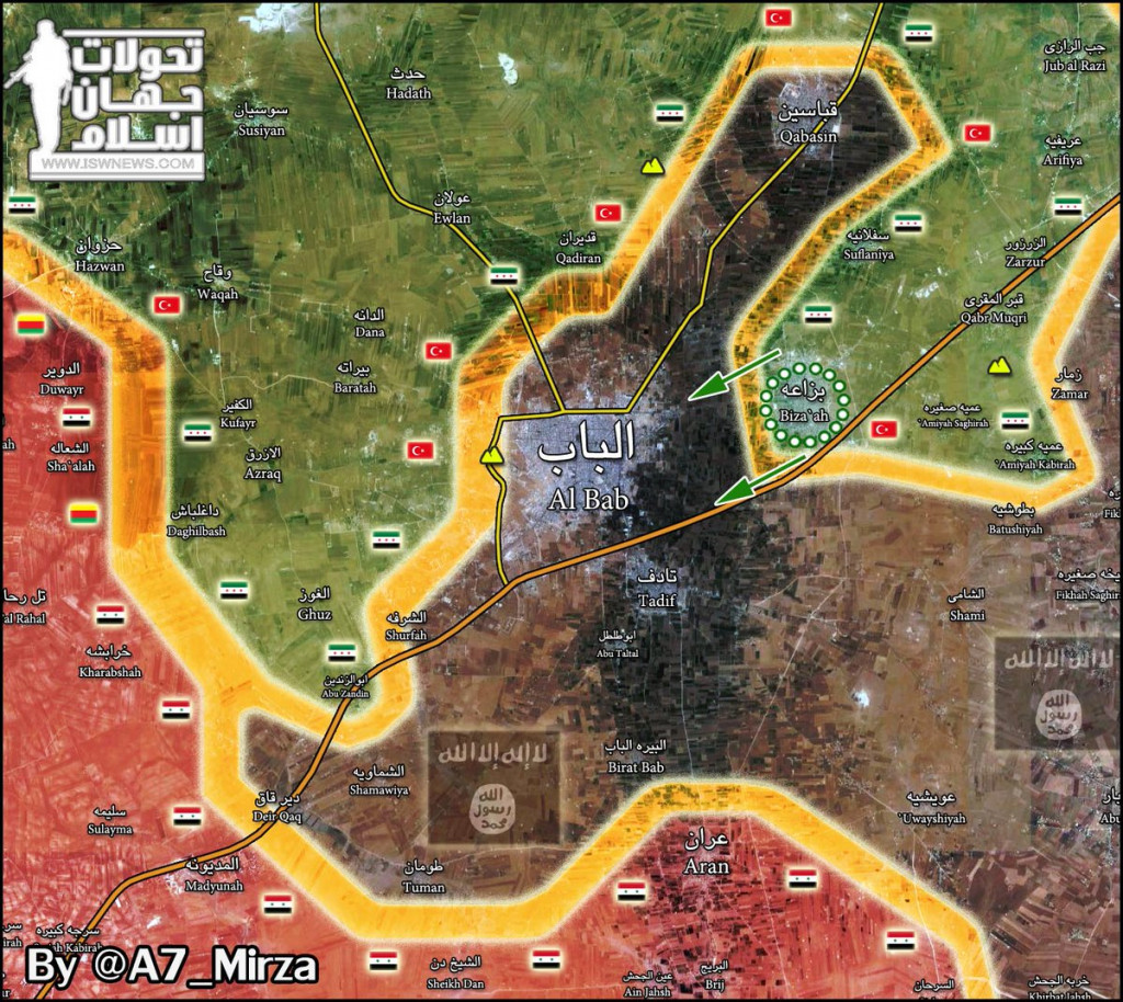 ISIS Stronghold Of Al-Bab Is Almost Encircled By Syrian And Turkish Forces. Intense Airstrikes Near Town