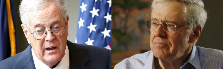 David and Charles Koch. Paul Zimmerman/WireImage; Bo Rader/Wichita Eagle/MCT via Getty Images