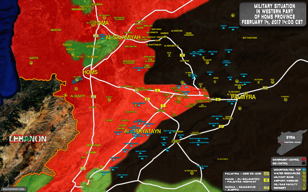 Map Update: Syrian Government Troops Gain Key Gas Field West Of Palmyra
