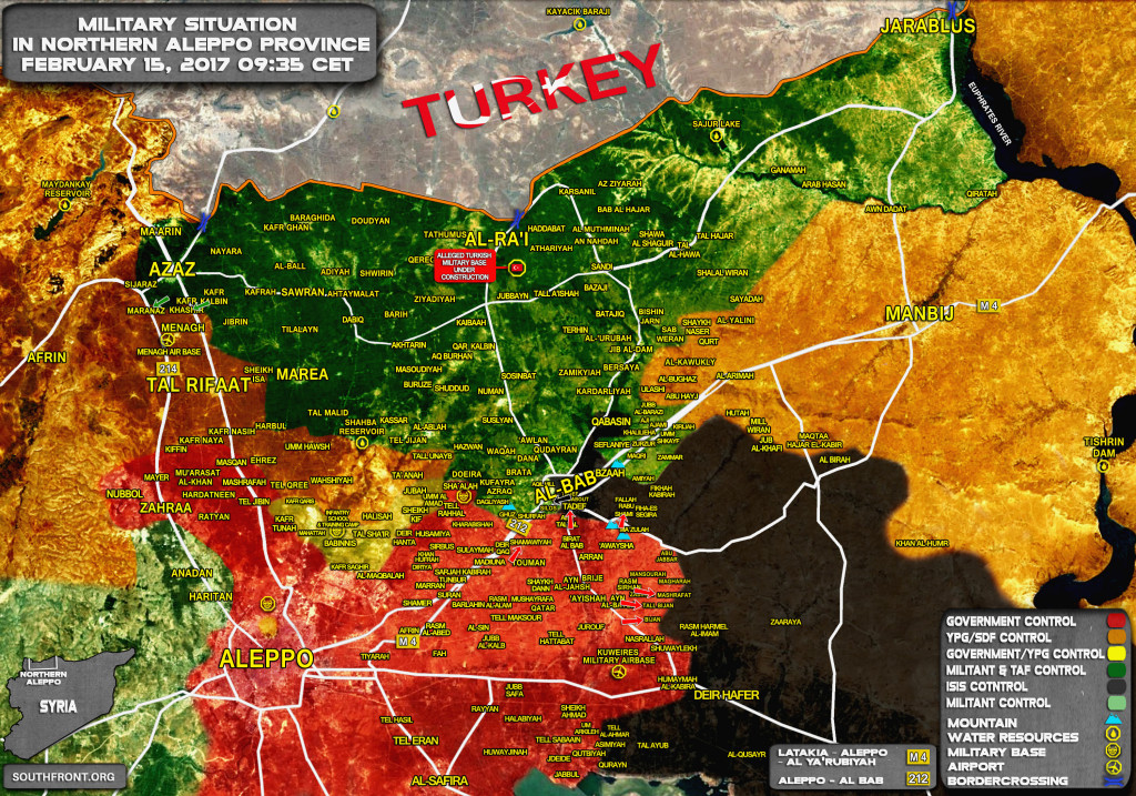 Military Situation In Northern Aleppo Proince On February 15, 2017 (Map)