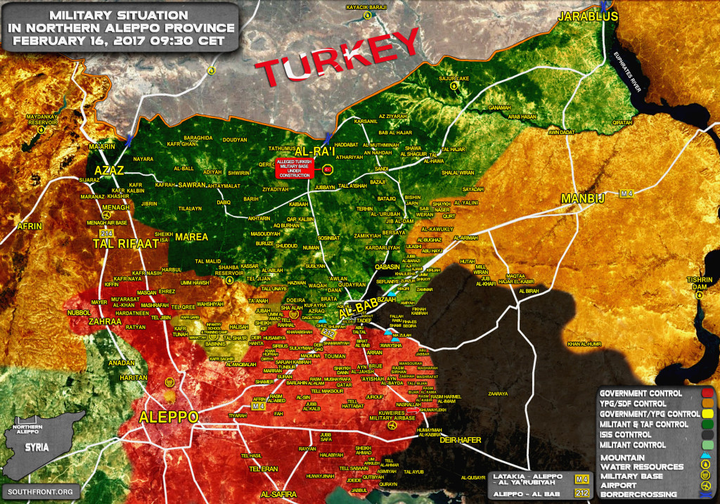Military Situation In Northern Aleppo On February 16, 2017 (Syria Map Update)
