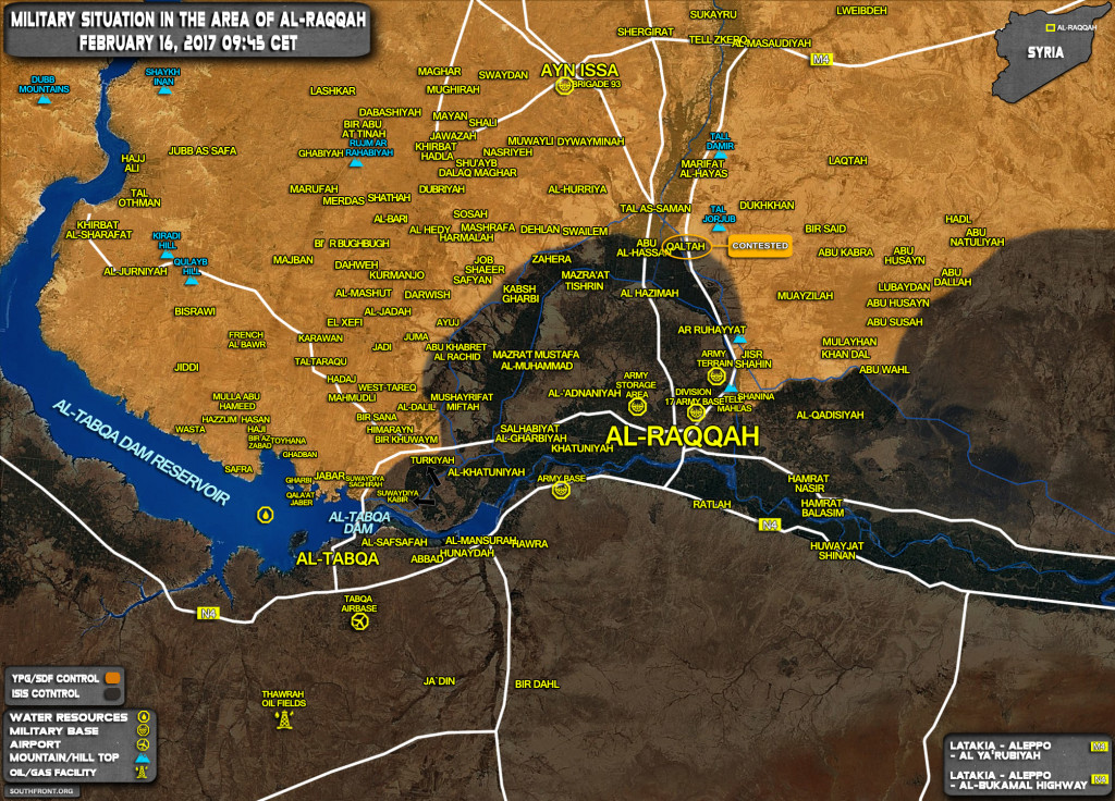 Military Situation In Area Of Raqqah On February 16, 2017 (Syria Map Update)