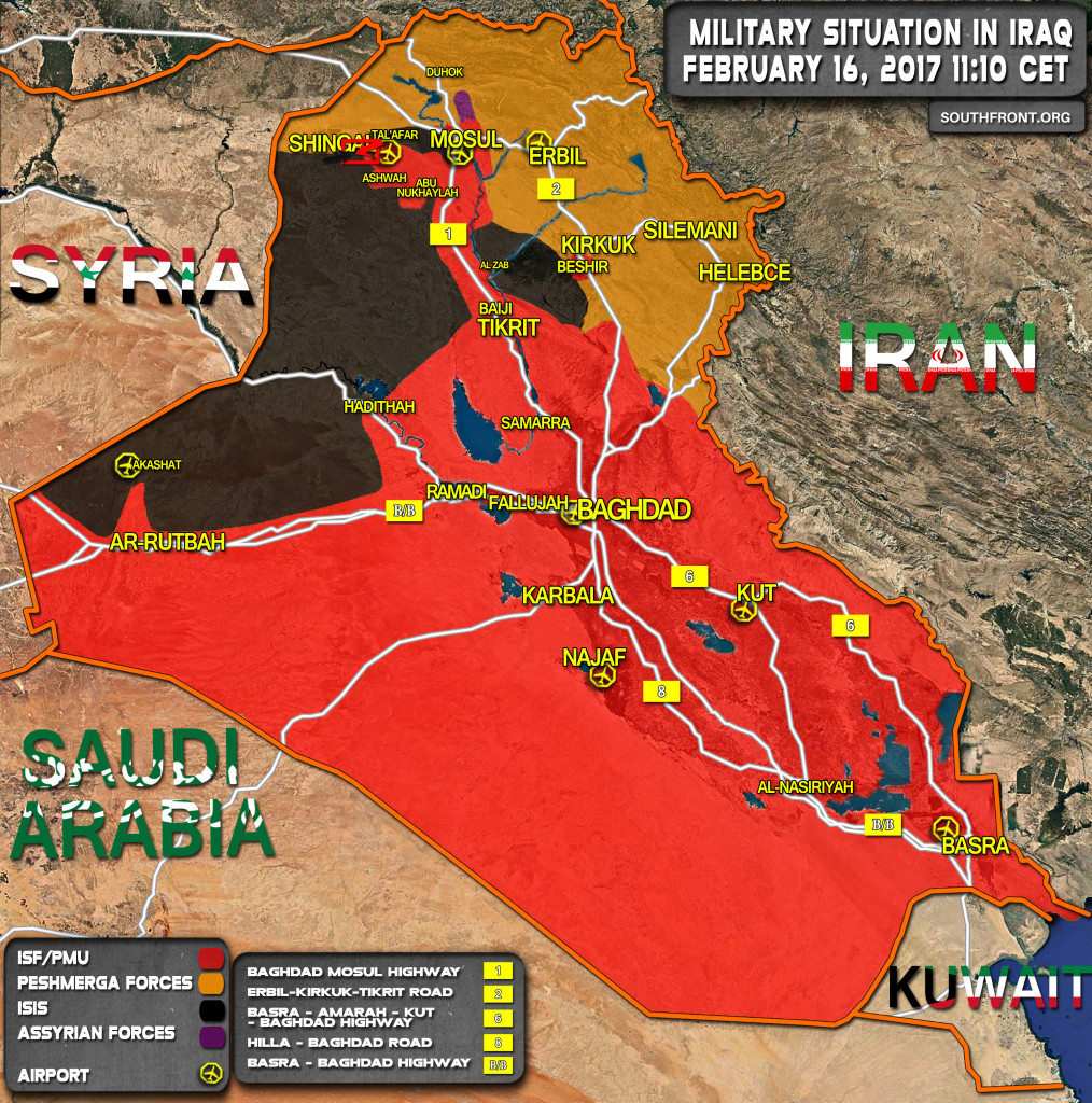 Military Situation In Iraq On February 16, 2017 (Map Update)