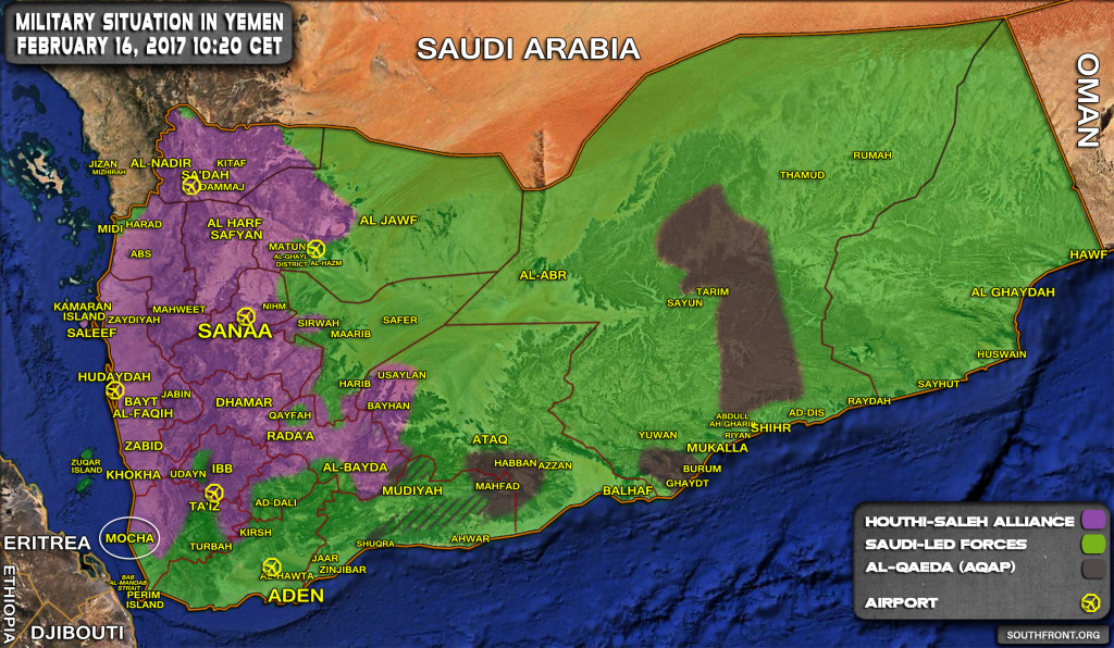 Military Situation In Yemen On February 16, 2017 (Map Update)