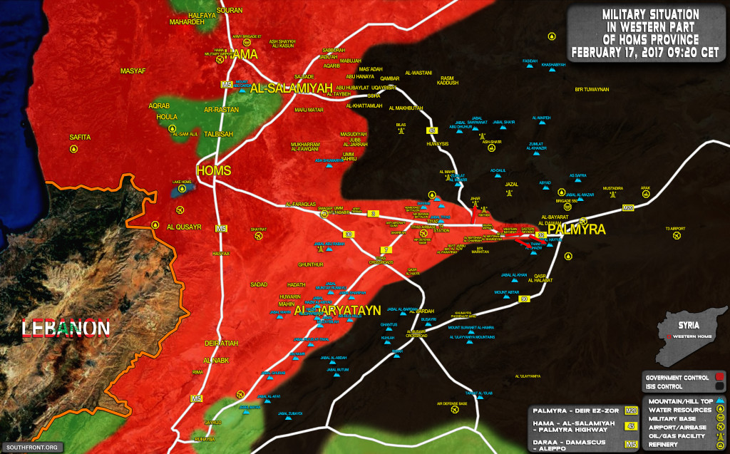 Syrian Army Is Only In 12km from Palmyra (Map)