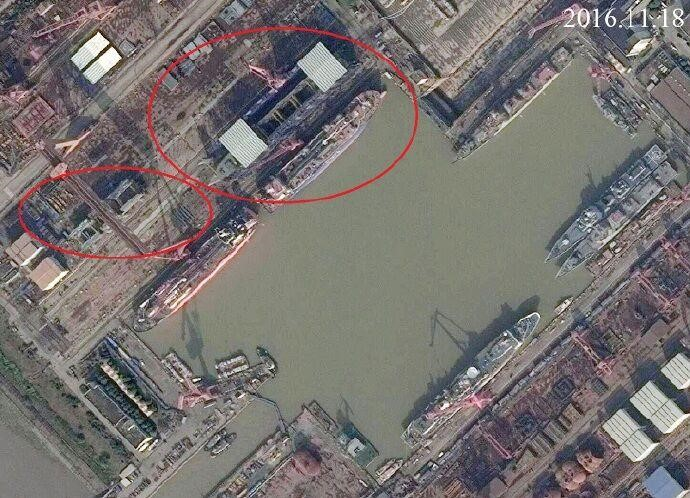 The above satellite image of Jiangnan shipyard dated November 11, 2016 clearly shows that the first Type 55 hull has been completed, while additional hull sections for a second Type 55 are under construction.