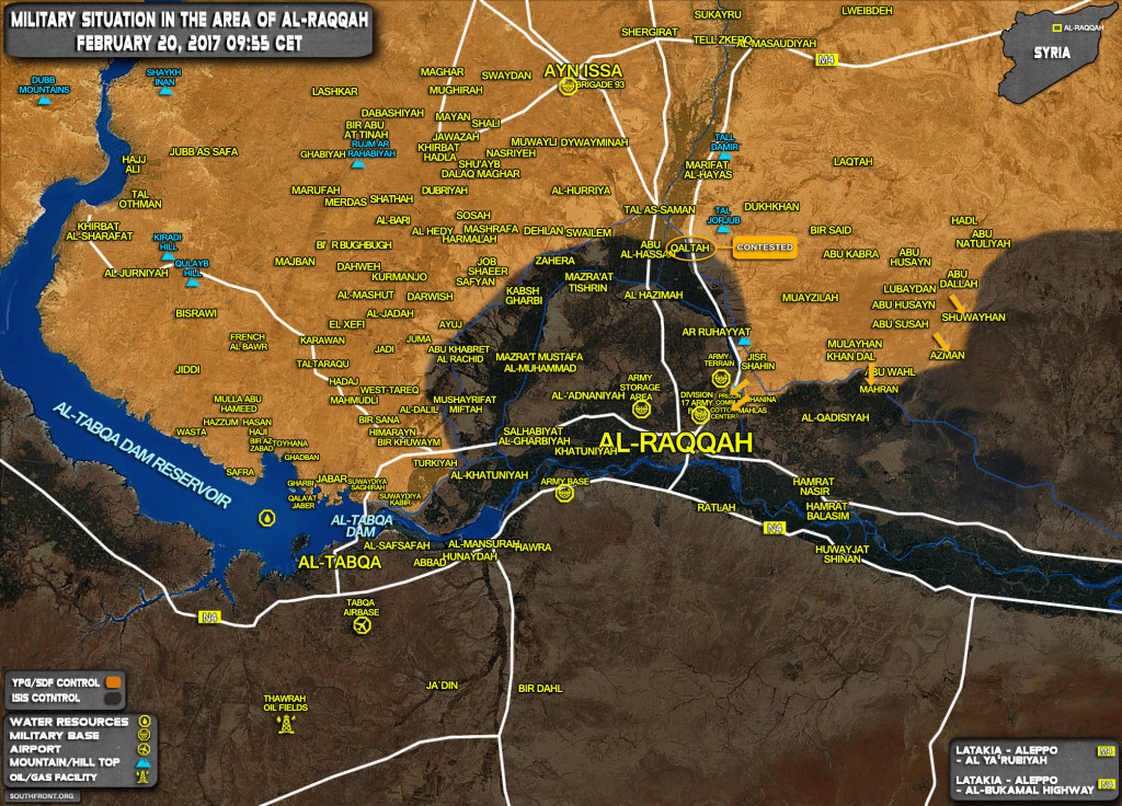 Military Situation In Area Of Raqqah On February 20, 2017 (Syria Map Update)