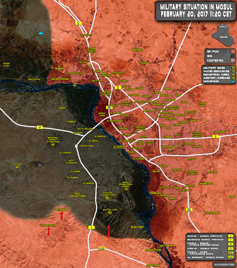 Military Situation In Area Of Mosul On February 20, 2017