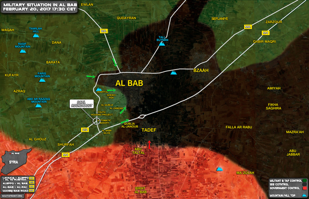 Military Situation In Al-Bab On February 20, 2017 (Syria Map)