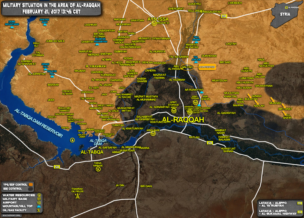 Military Situation In Area Of Raqqah On February 21, 2017 (Syria War Map)