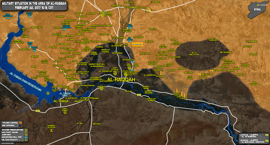 Military Situation In Raqqah Province On February 22, 2017 (Syria Map Update)