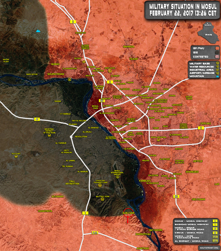 Military Situation In Mosul City On February 22, 2017 (Iraqi Map Update)