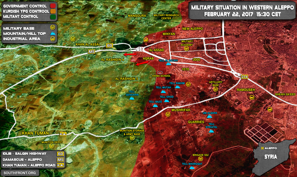 Intense Fighting In Rashidin 4 and Rashidin 5 Areas As Government Troops Advance West Of Aleppo (Map)