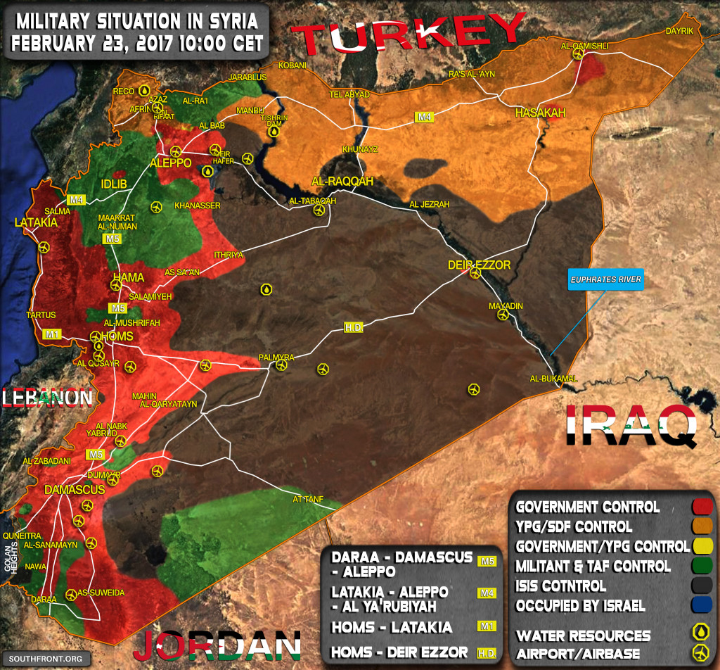 Military Situation In Syria On February 23, 2017 (Map Update)