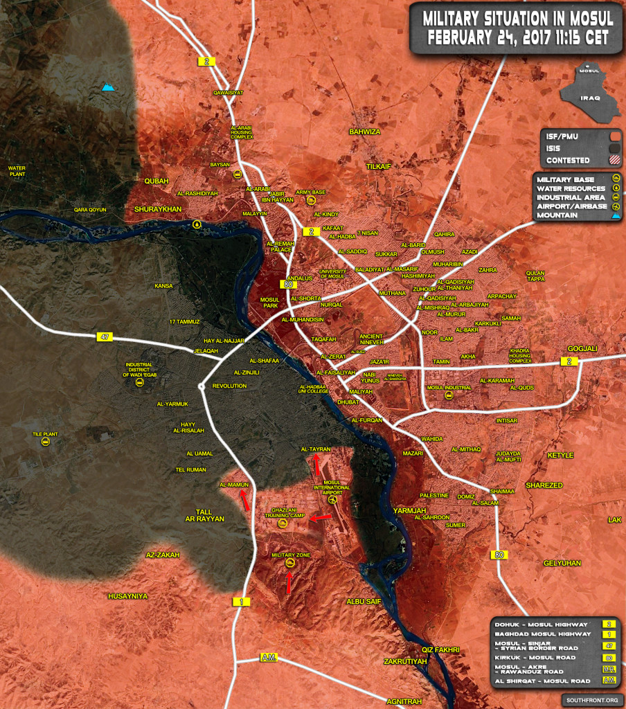 Military Situation In Iraq City Of Mosul And Its Countryside On February 24, 2017 (Maps)